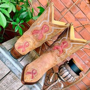 OLD GRINGO Rare Breast Cancer Ribbon Short Boots 8